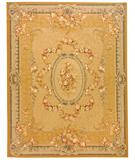 RugStudio presents Due Process Aubusson Versailles Gold-Blue Flat-Woven Area Rug